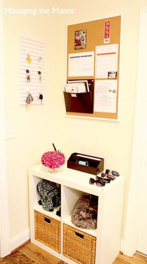 I love this command center idea! Use a cube shelf to store shoes and other items. I really like the bulletin board as well!