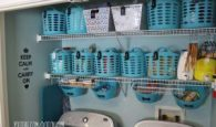 Completely transform your laundry area by using dollar store bins and baskets to organize and declutter.