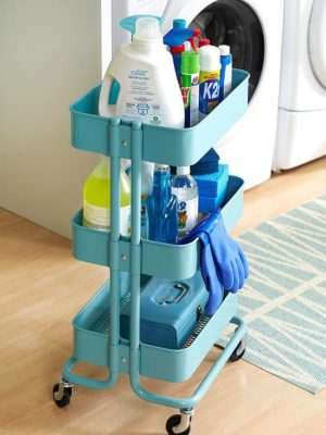 Organize your laundry room items using a rolling cart.