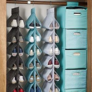 Use a hanging shoe organizer for your closet to save space.