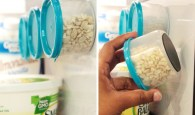 Apply magnets to the bottom of your plastic food containers for additional storage in your fridge.