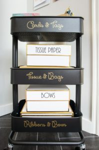 Use a mobile cart to store supplies in your home office.