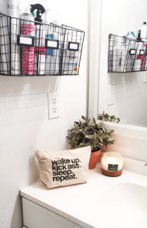 Install wire bins on your wall to organize and store your hair products and other bathroom essentials.