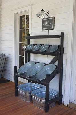Use galvanized tubs to store shoes and other items outside.