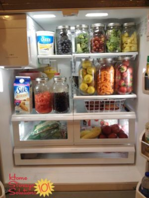 Use glass jars to organize fruits and veggies in your refrigerator. This is also a great way to get your family to eat more fruit and veggies!