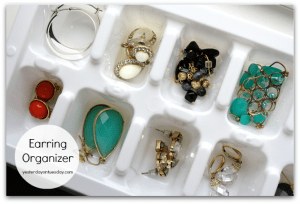Use a cheap dollar store ice tray to organize earrings and other small jewelry.