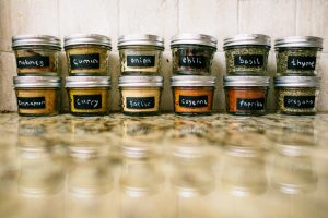 Use mason jars to organize and store your kitchen spices.