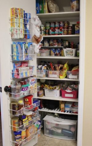 Behind the door organizer to add storage space to a small pantry.