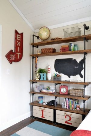 I love this industrial shelf. The boys need this in their bedroom. Repin!