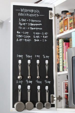 Use chalkboard paper to make a measuring chart for your kitchen cabinet.