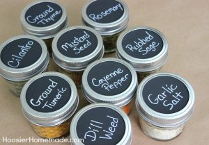 Use chalkboard labels to organize your spices.