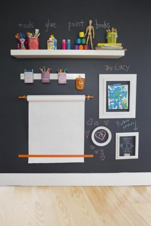 Use chalkboard paint the playroom! Love this idea! Repin for later