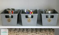 Can you believe that these are just spray painted dollar store bins? Repin if you want to try this at home!