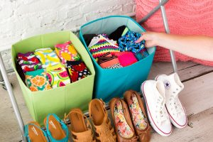 Use fabric bins to organizer underwear and socks in your closet. Repin!