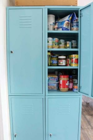 Repurpose an old set of lockers to make a standalone kitchen pantry.