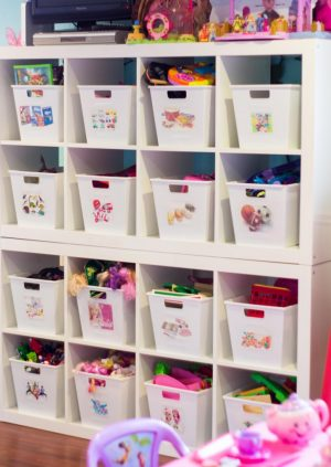 Organize your kids' toys using simple dollar store bins. Repin if you want to try this!