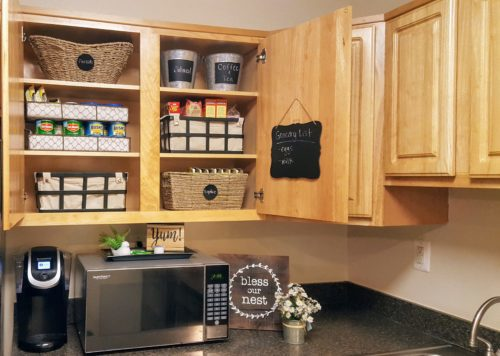 Loving my organized kitchen cabinets.