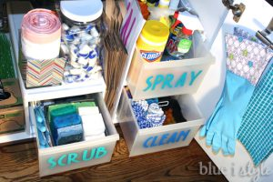 Label containers underneath your sink to keep things organized.