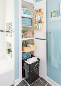 I love the pul-out linen bins in this bathroom closet. Repin if you think this is brilliant!
