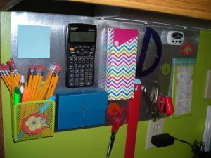 Make a magnetic board to store and organize your kiddos school supplies. Nothing will get lost again! Repin for later/