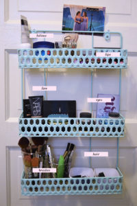 Use a door organizer to store makeup and other beauty essentials. Repin if you think this is a cool idea!