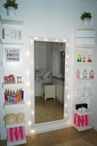 Create a vanity station for your daughter's bedroom.