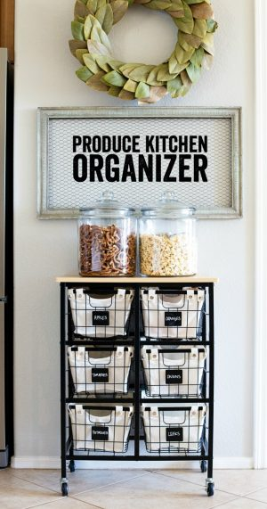 Use a mobile cart to store produce and other pantry items in a small kitchen.