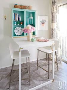 Add a murphy table to to your kitchen to save space. Fold it up on the wall when not in use.
