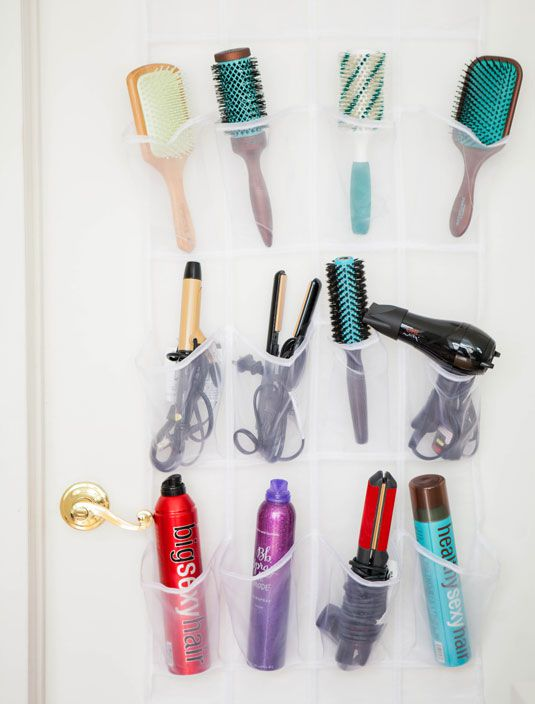 Use a shoe organizer to store bathroom supplies.