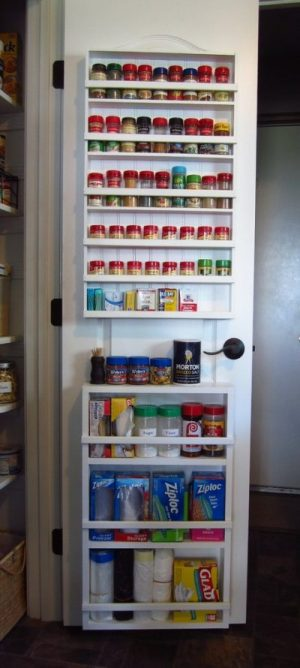 Shelf organizer for the pantry door. Love this idea! Repin!