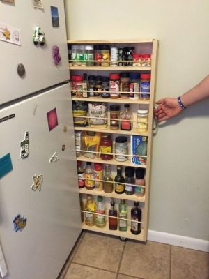 Pull out pantry is perfect for tight spaces.