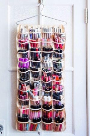 shoe organizer makeup e1509559352369 - 15 Cheap and Easy Ways to Organize Your Makeup in a Small Bathroom