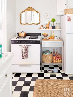 small apartment kitchen ideas stonewall com 15 cheap and easy hacks to make your space feel huge add a storage cart for more counter