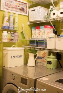 Use wire bins on your laundry room wall to store cleaning supplies and other products.