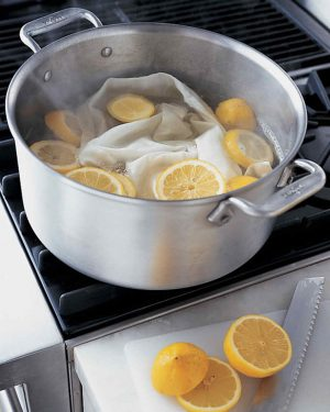 Brighten white clothes by letting them soak in a pot of boiling water and cut lemons.