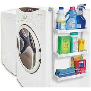 Use space-saving shelves on the side of your washer to store your laundry room essentials.