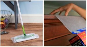 IF you run out of swifter pads, use wax paper to sweep up dust. You can also cover the tops of your kitchen cabinets with wax paper to repel dust.