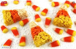 Candy corn rice krispie treats for Halloween. Yum!