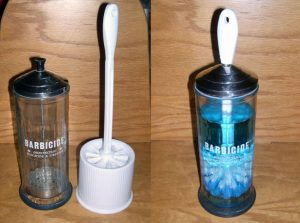 Use a barbicide container filled with disinfectant to house your toilet brush. This is genius!