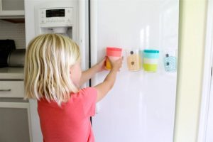 Place magnets on the back of your kids cups to help them keep track of them.