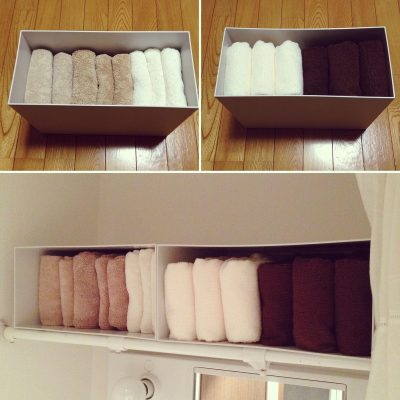 BATH TOWEL STORAGE AND ORGANIZING IDEA FROM JAPAN! LOVE THIS. WANT TO TRY IT LATER. REPIN!