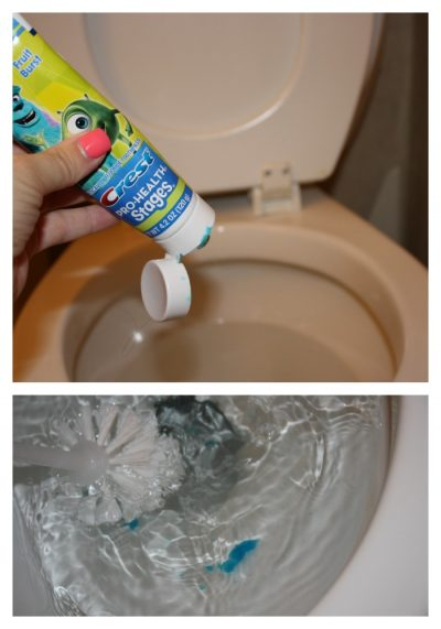 SHE CLEANS HER TOILET WITH TOOTHPASTE AND THE RESULTS ARE AMAZING! GOTTA TRY THIS LATER. REPIN!