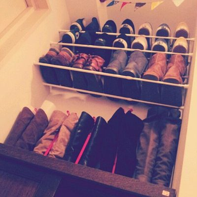 THIS IS HER SHOE ORGANIZATION IN HER BEDROOM CLOSET. IT IS AMAZING! I WANT TO TRY THIS LATER. REPIN!
