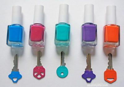 Use nail polish to color code your keys.