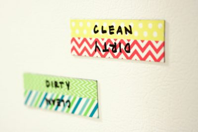 Make labels for your dishwasher so your family knows when dishes are dirty or clean.