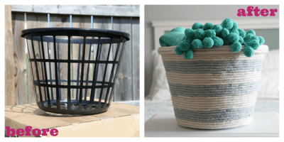 This DIY dollar store rope basket is just too cute. I want to make one for my room.