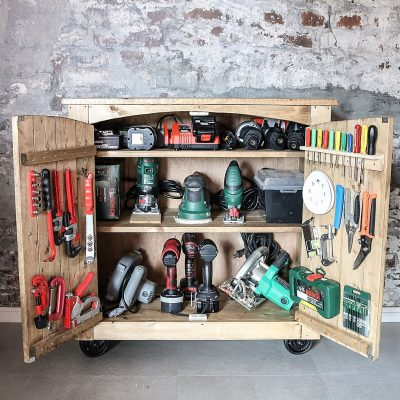 Make your own tool storage cabinet for the garage.