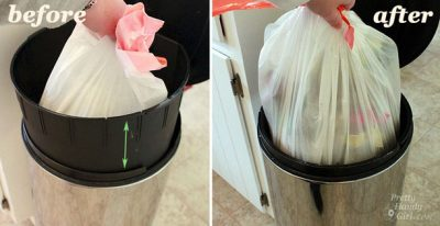 Drill holes in your trash can to make it easier to take out by preventing suction.