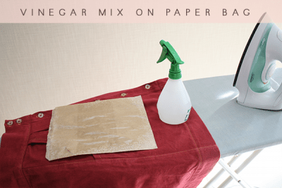 Get rid of those hard to remove crease with a paper bag and vinegar and water mixture.