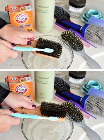 Clean your hairbrushes monthly!